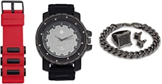Techno Pave Iced Out Watch + Interchangeable Band + Cuban Bracelet + Iced Out Earrings & Ring [Gift Set]