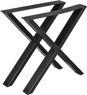 2X Pieds de Table Noir Rectangulaire Métal Support De Table Carrés Industriels
