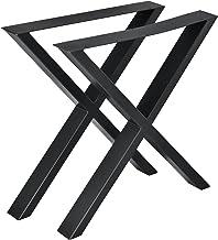 [en.casa] Bordsben set med 2 st. svart – 69 x 72 cm – metall X-form möbelben