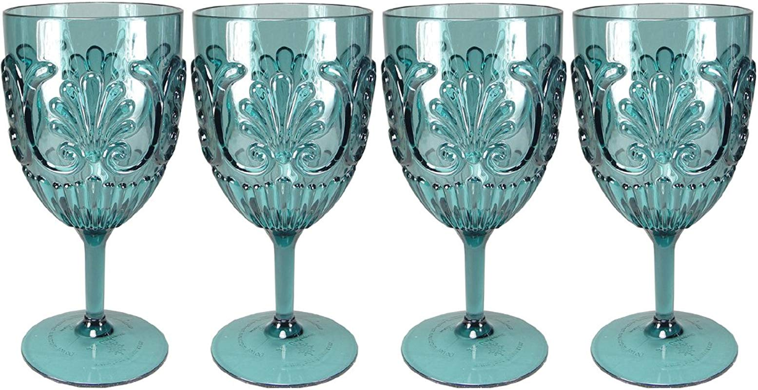 Le Cadeaux Classic Fleur Teal Blue 4 Piece Wine Glass Set