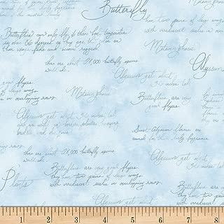Robert Kaufman Garden Studies Script Dusty Blue Fabric Fabric by the Yard