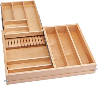Rev-A-Shelf 27 in 2-Tiered Wood Cutlery Drawer System Soft Close, 27