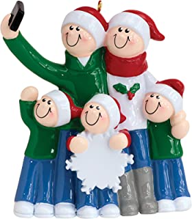 Personalized Selfie Family of 5 Christmas Tree Ornament 2019 - Mother Father Child Take Self-Portrait Photo Smartphone Share via Social Media Hug Memory Holiday Dated Year Gift - Free Customization