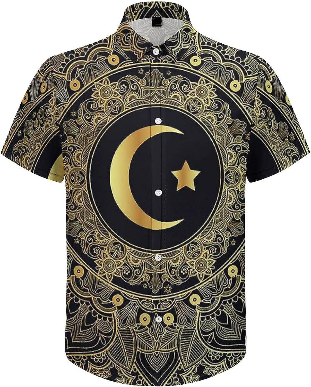 Men's Regular-Fit Short-Sleeve Printed Party Holiday Shirt Yin Yang Mandala Black