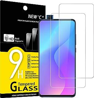 NEW'C 2-pack skärmskydd med Xiaomi Mi 9T, Mi 9T Pro, Redmi K20, K20 Pro – Härdat glas HD klar 9H hårdhet bubbelfritt