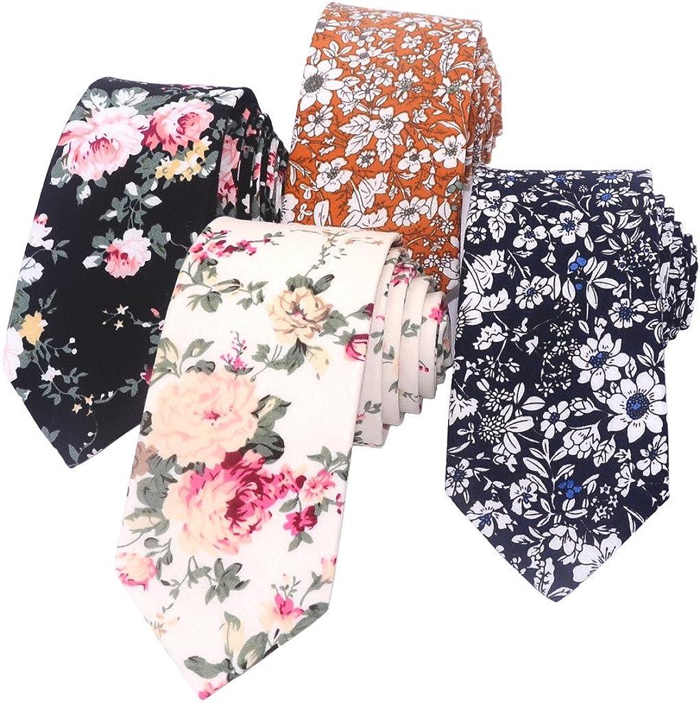Kissvian Men's Cotton Floral Printing Skinny Tie Linen Tie Necktie