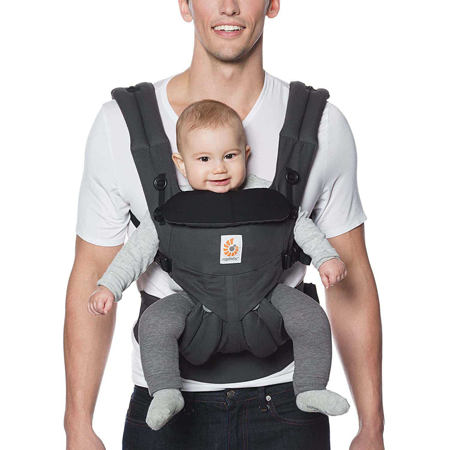 Ergobaby Omni 360 All-Position Baby Carrier for Newborn to Toddler with Lumbar Support (7-45 Pounds), Charcoal