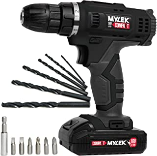 MYLEK MYW09 18V Cordless Drill Electric Screwdriver Set, Powerful Lithium Ion Battery Pack, 18 Volts Combi Driver, DIY Acc...