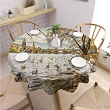 DILITECK Landscape Kids Round Tablecloth Prague Charles Bridge Old Town Czech Republic Riverside Scenic View with Swans Printed Tablecloth Diameter 36