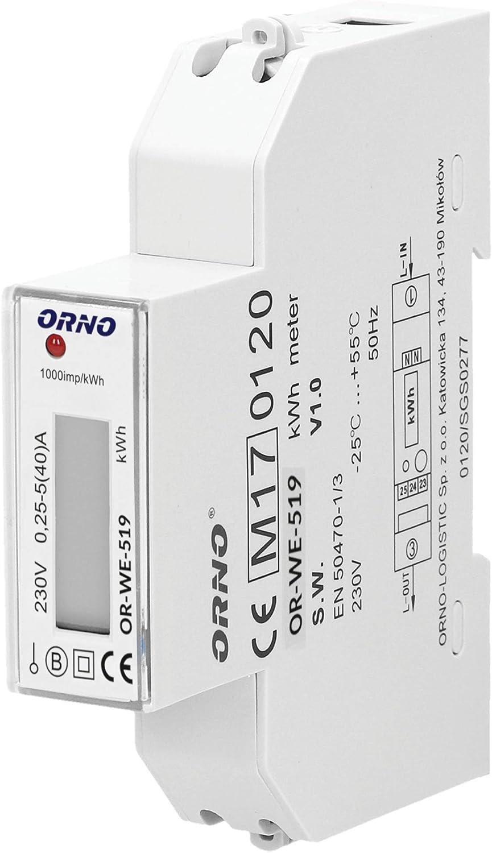 ORNO WE-519 Medidor De Consumo Electrico Monofásico Con Certificado MID y salida de pulso (sin luz de fondo)