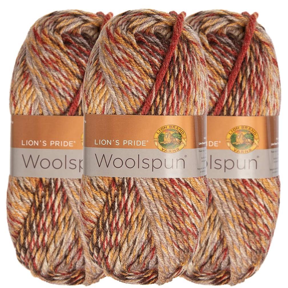 Lion Brand (3 Pack) Woolspun Acrylic & Wool Soft Desert Sun Mix Tan Gray Yarn for Knitting Crocheting Bulky #5