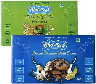 Blueneck Natural Banana Chocochip Millet and Butterscotch Green Tea Oats Cookies - 400gm (Pack of 2)