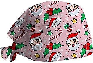 Gorros Quirofano Mujer y Hombre de Navidad Ajustable, Unisex Sombreros Gorro de Lactancia con Botón Flor Corbata Algodón G...