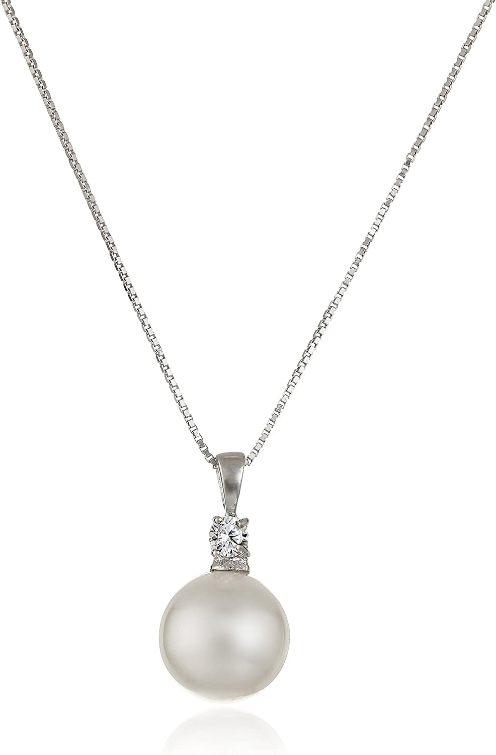 Sterling Silver Simulated Pearl and Cubic Zirconia Pendant Neckl