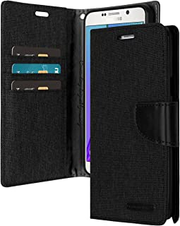 Galaxy J5 2017 Wallet Case with Free 4 Gifts [Shockproof] GOOSPERY Canvas Diary Ver.Magnetic Card Holder with Kickstand Flip Cover for Samsung GalaxyJ52017 - Black, J52017-CAN/GF-BLK