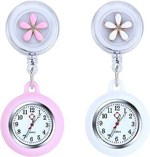Vicloon Reloj de Enfermera con Broche, 2 Piezas Reloj de Bolsillo para Enfermera con Broche para Reloj Paraméd Nurse Fob, ...