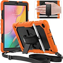 Timecity Samsung Tab A 10.1 Case,ONLY Fit (SM-T510/T515/T517) 2019.(NOT FIT Other Tablet 10.1) Full-Body Rugged Armor Case with Rotating Stand S Pen Holder for Samsung Galaxy Tab A 10.1-Orange+Black