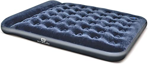 Outbound Queen Air Mattress with Built-in Foot Pump and Pillow | Inflatable Mattress Blow Up Bed | Portable Air-Bed for Camping | Repair Patch, Queen/Full