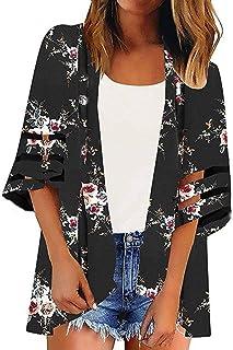 Shinekoo Damen Herbst Blumen Cardigan Frauen Unregelm/ä/ßige Beil/äufige Outwear