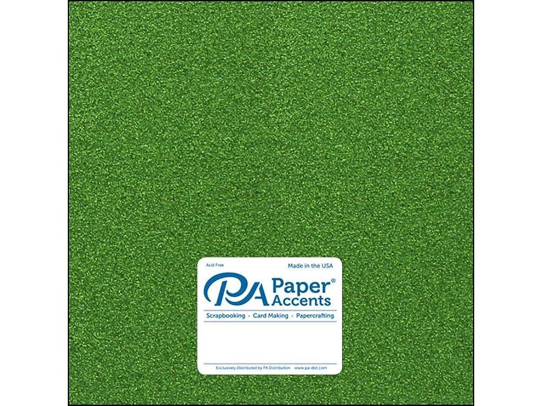 Paper Accents 85lb 5pc Cdstk Glitter 12x12 Kiwi Green