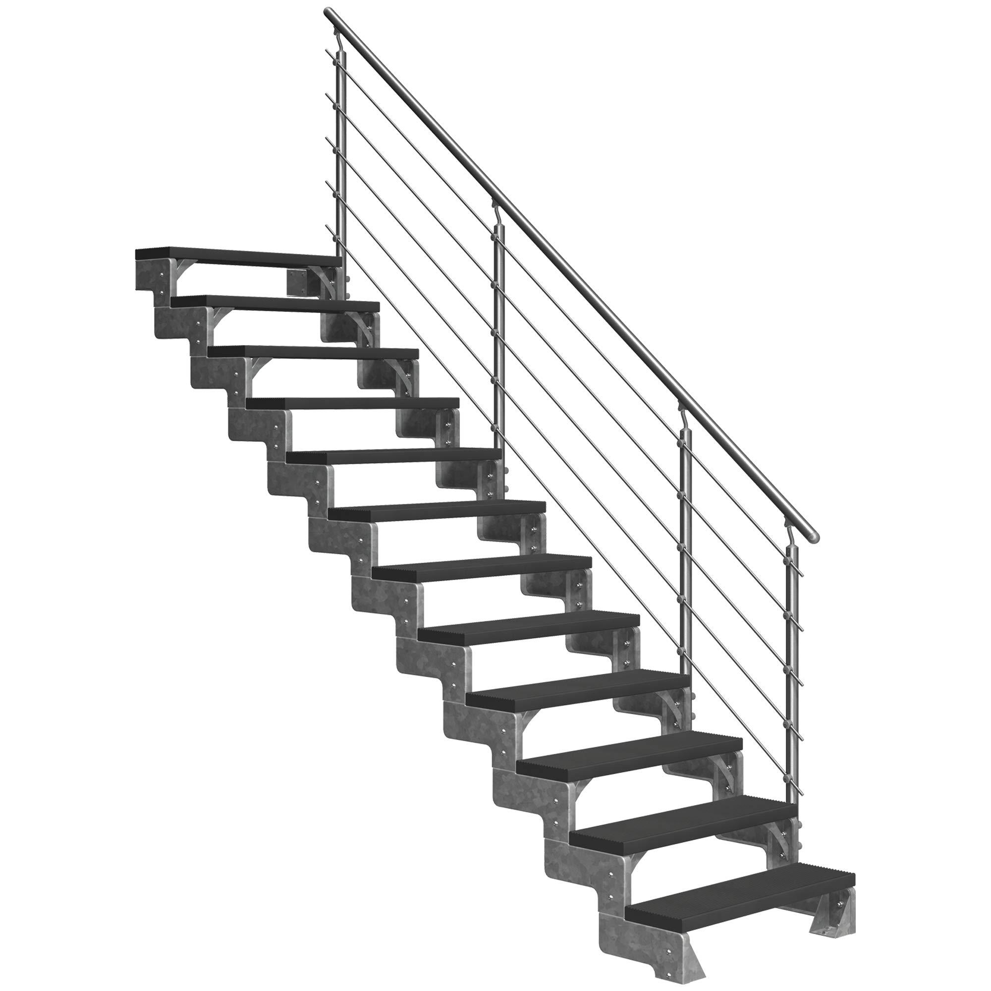 Dolle - Escalera para exteriores con 12 peldaños, altura de planta: 216-264 cm, Trimax® reposapiés de color antracita, 100 cm, con barandilla Prova: Amazon.es: Bricolaje y herramientas