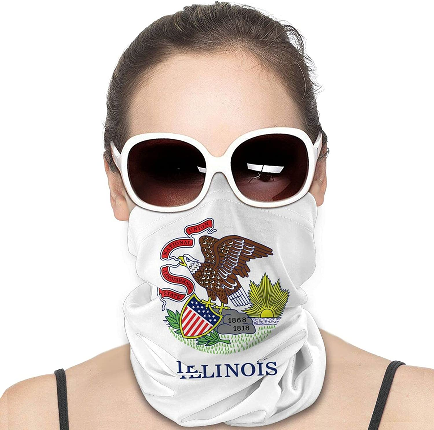 Illinois State Flag Round Neck Gaiter Bandnas Face Cover Uv Protection Prevent bask in Ice Scarf Headbands Perfect for Motorcycle Cycling Running Festival Raves Outdoors