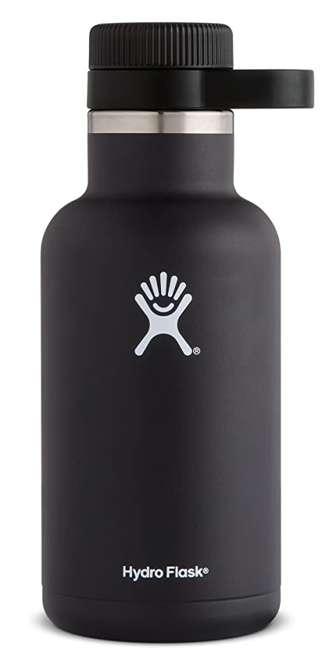 Hydro Flask 64 oz Beer Growler | Stainless Steel & Vacuum Insulated | Easy-Carry Handle | Black