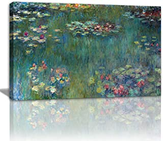 AMEMNY Canvas Wall Art Water Lilies by Claude Monet Canvas Paintings-24 x36 Piece Extra Large Contemporary Pictures Modern Canvas Prints Giclee Fine Art Print