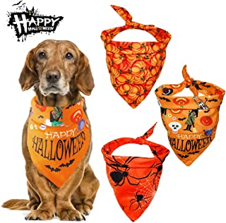Malier 3 Pack Dogs Bandanas Halloween Bandanas Bibs Scarves Kerchiefs with Pumpkin Pattern Pets Costume Accessories for Cats Dogs Puppy Pets
