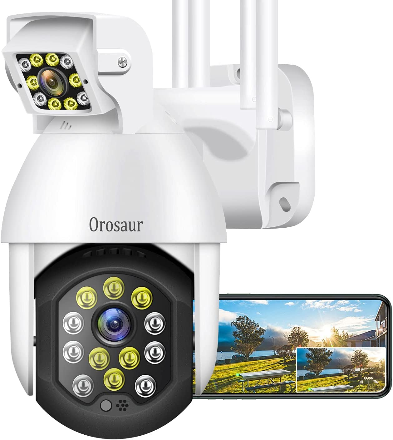 Home Security Camera Outdoor, OROSAUR 1080P Wireless WiFi Surveillance Cameras for Home, 360° View, PTZ, Color Night Vision, Motion Detection, 2-Way Audio, Cloud Storage Camera, Work with Alexa