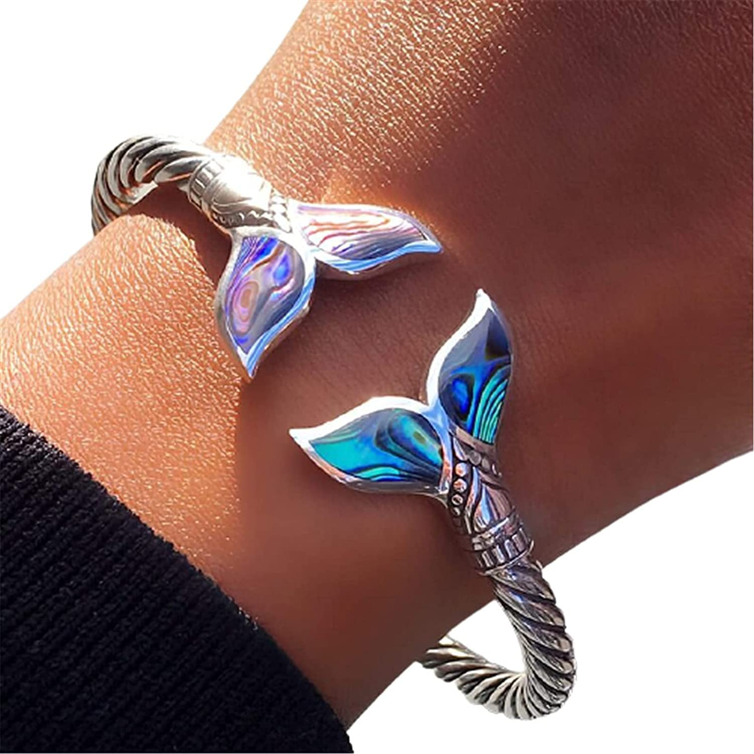 HNMJ Bracelet for Women, Abalone Shell and Mermaid Tail Bangle Bracelet, Adjustable Open Hand Chain,Durable Marine Style Jewelry Valentine's Day Gift for Girl,Women Girls Jewelry Gift Bracelet