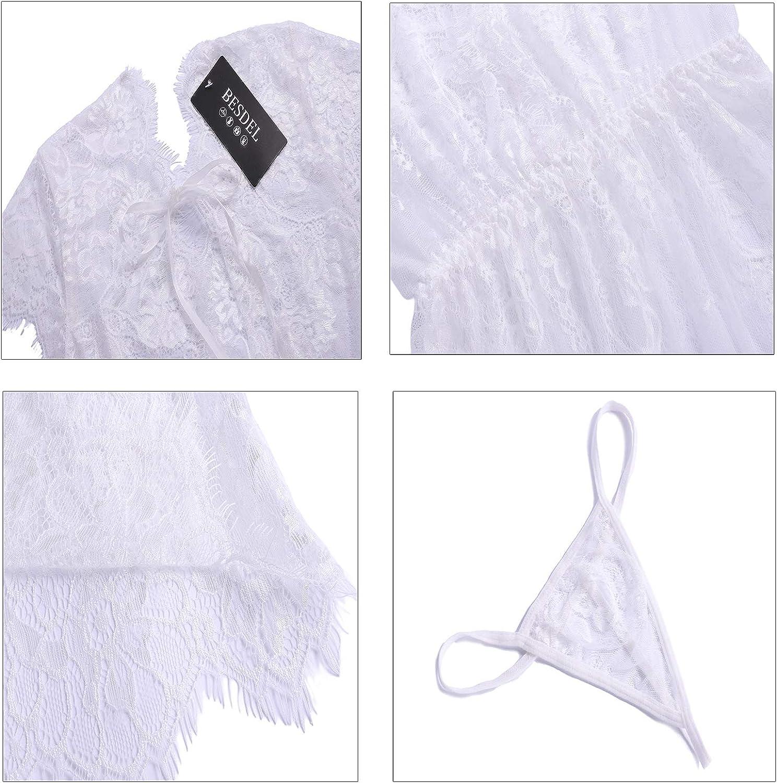 BESDEL Women Eyelash Lace Chemises Nightwear V-Neck Sleepwear Strap Babydoll Lace Sheer Nightgown