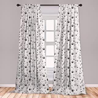 Lunarable Grey Window Curtains, Pattern with Random Footprints Paw Traces Pet Legs Friendly Cats and Dogs, Lightweight Decorative Panels Set of 2 with Rod Pocket, 56