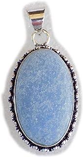 Blue Jade Pendant, Silver Plated Brass Pendant, Handmade Pendant, Gift Jewelry, Women Jewellry, Fashion Jewellry, BRS-12371
