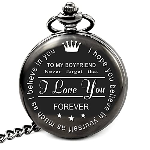 LEVONTA Boyfriend Birthday Gifts Christmas From Girlfriend Personalized Pocket Watch I Love You PW