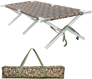 Shaddock Fishing Portable Folding Camping Cot - Military Grade Aluminum Frame Adult Cot Bed with Zippered Storage Bag Perfect Base Camp, Travel Hunting - Test 400 lbs Weight Capacity