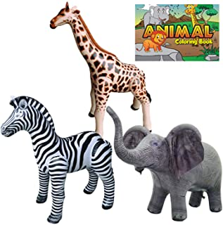 Jet Creations Safari 4 Pack Giraffe Zebra Elephant Animal Coloring Book Great for Pool, Party Decoration, Home School, Sch...