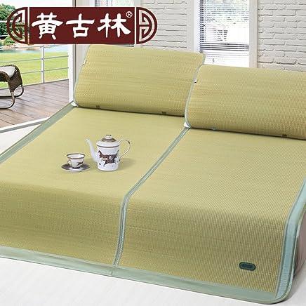 黄古林 天然海绵草凉席三件套 1.8米/1.5米/1.2米m 折叠席双人床席子夏季凉席 1.2m(4英尺)床 实物拍摄