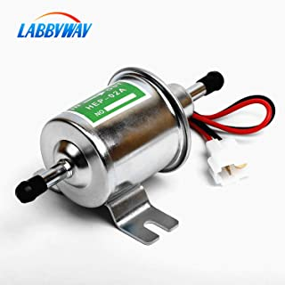 LABBYWAY 12 Volts-Universal Low Pressure 2.5-4 PSI Gas Diesel Inline Electric Fuel Pump HEP-02A (Silvery)