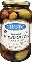 Giusto Sapore Italian Style Olives - Mixed Whole - Premium Gourmet GMO Free - Family Owned - 19.4oz. - Classic Jar