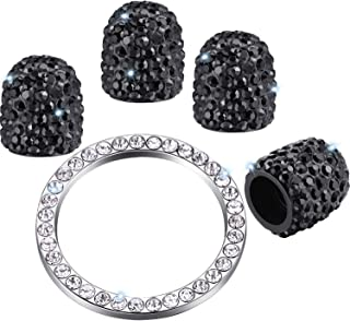Valve Stem Caps 4 Pack Handmade Crystal Rhinestone Universal Tire Valve Dust Caps Bling Car Accessories with 1 Piece Ring Emblem Sticker for Auto Start Engine Ignition Button Key and Knobs (Black)