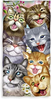Dawhud Direct Cats Selfie Cotton Beach Towel