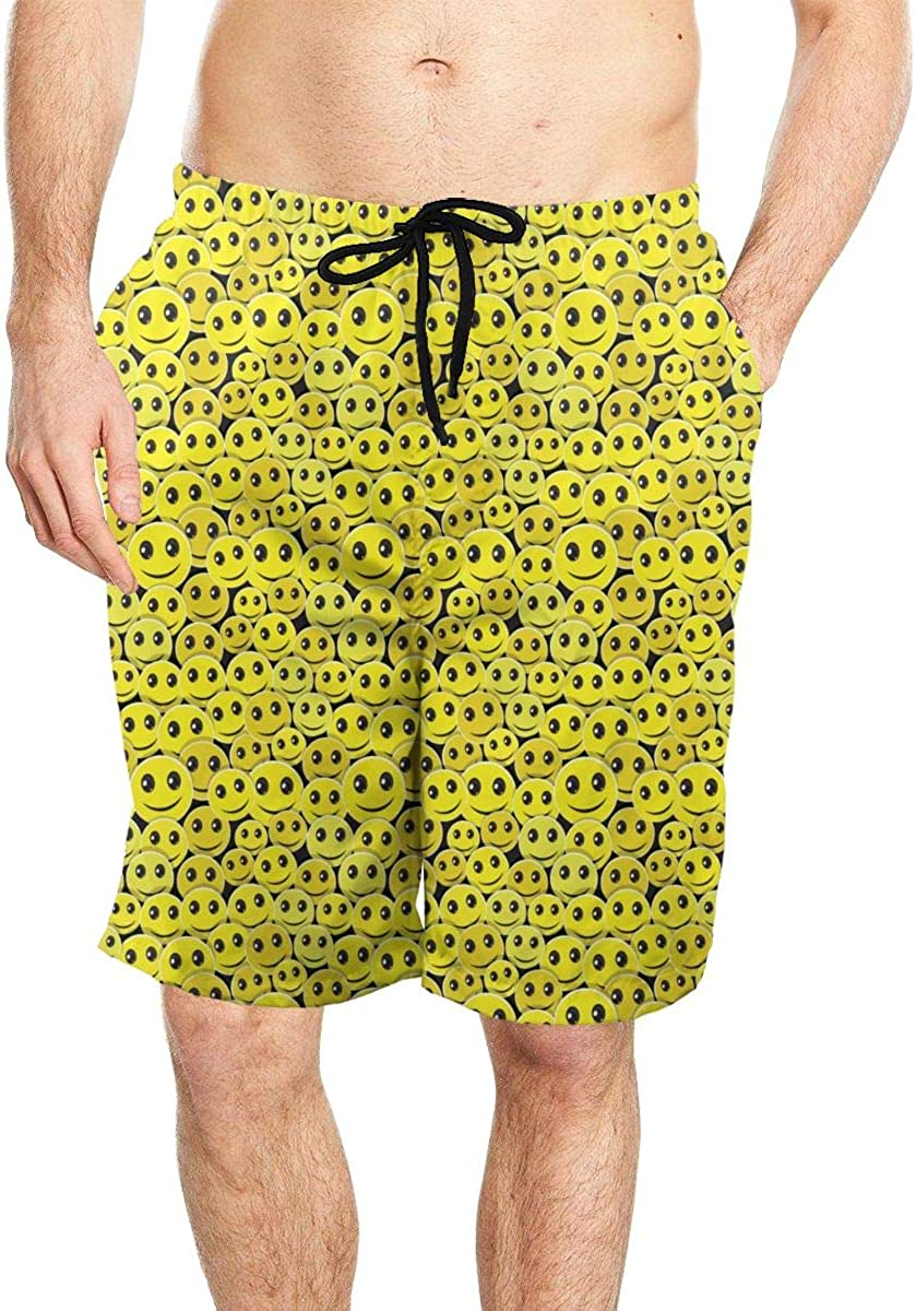 DASMUS Smile Face Pattern Men Quick Dry Beach Board Shorts Swim Trunks with Mesh Lining