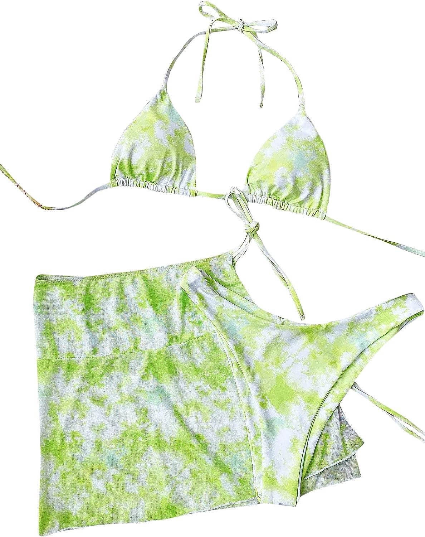 MakeMeChic Women's 3packs Tie Dye Triangle Bikini Swimsuit and Beach Skirt