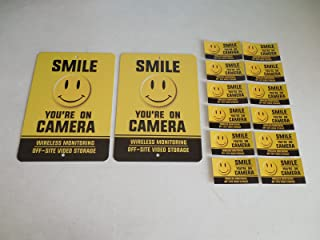 2 Smile You're On Camera Video Surveillance Security System Yard Signs & 12 Window Stickers - Stock # 722