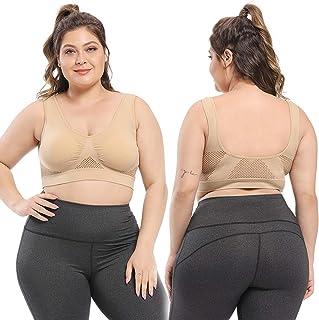 Sports Bra No Steel Ring Hollow Grid Vent Hole Sports Bra Shockproof Yoga Running Large Size Underwear Female(XXXXL, Beige)