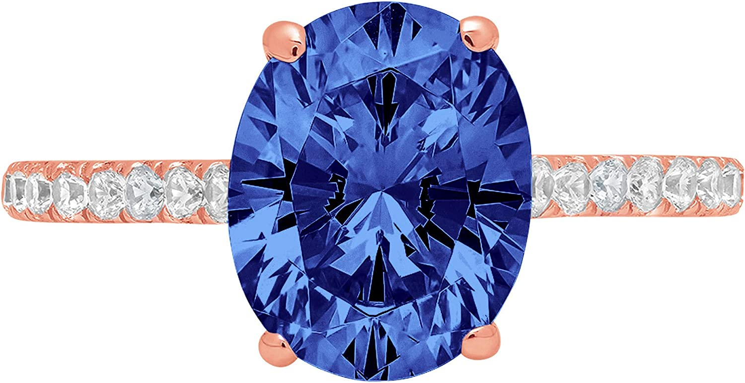 2.76 Brilliant Oval Cut Solitaire with accent Stunning Genuine Flawless Simulated Blue Tanzanite Modern Promise Designer Ring 14k Rose Gold