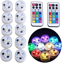 "ZXX Mini Submersible Led Lights with Remote, Small Underwater Led Tea Lights Waterproof 1.5"" RGB Multicolor Battery Operat..."