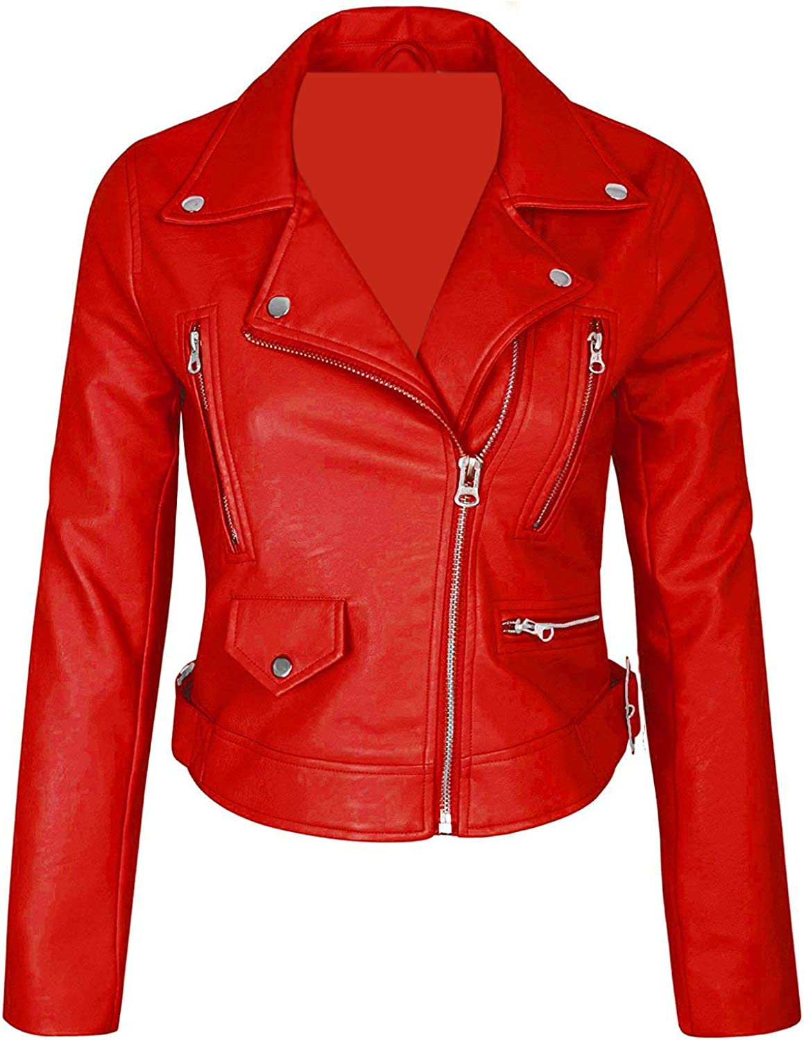 Ribi's Womens Red Pu Leather Jacket - Faux Leather Jackets for Women