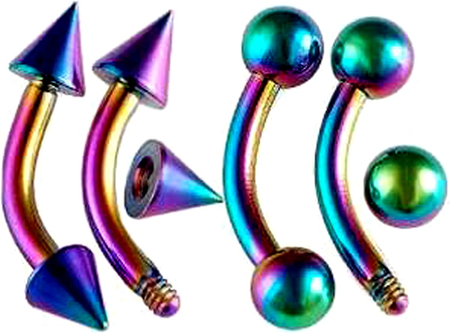 16g 16 gauge 1/4 Inch 6mm Rainbow surgical steel eyebrow lip bars ear tragus rings curved barbell ADKH Piercing 4Pcs